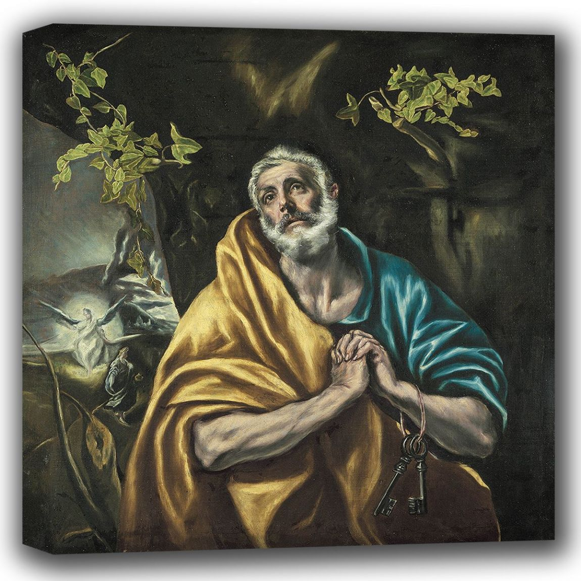El Greco (Domenico Theotocopuli): Saint Peter in Penitence/The Tears of St Peter. Religious. Fine Art Canvas (002036)